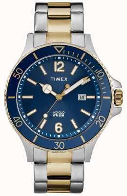 Timex Pulsera de hombre en color dorado azul y dorado con esfera azul para hombres TW2R64700D7PF