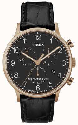 Timex Correa negra para hombre de Waterbury Classic Rose Gold. TW2R72000D7PF