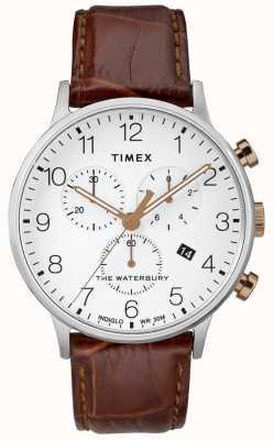 Timex Reloj cronógrafo clásico acuático Waterbury para hombre, esfera blanca TW2R72100D7PF