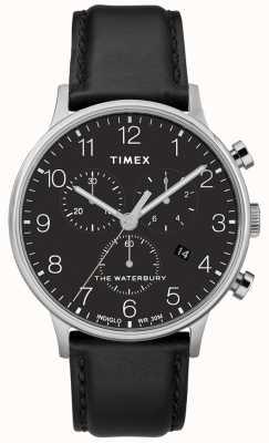 Timex Correa de reloj negro cronógrafo clásico de Waterbury para hombre. TW2R96100D7PF