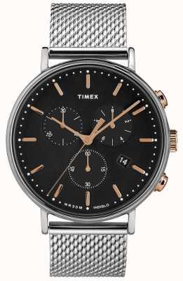 Timex Fairfield cronógrafo reloj de malla plateada esfera negra TW2T11400D7PF