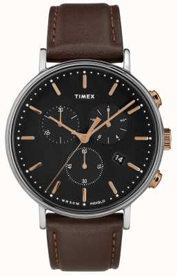 Timex Cronógrafo Fairfield correa marrón esfera negra TW2T11500D7PF