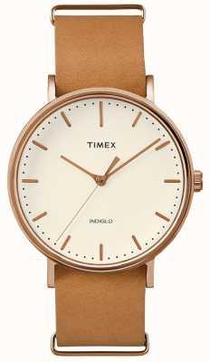 Timex Fairfield correa marrón reloj de 3 manecillas TWF3C8160UK