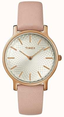 Timex Reloj de pulsera de cuero metropolitano para mujer, oro rosa plata TW2R85200D7PF