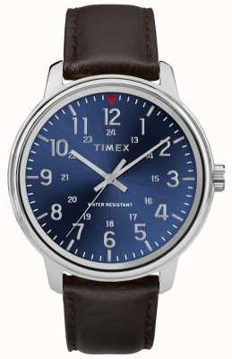 Timex Hombres reloj de cuero marrón metropolitana esfera azul TW2R85400