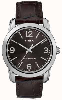 Timex Correa de cocodrilo de cuero marrón para hombre, esfera negra TW2R86700