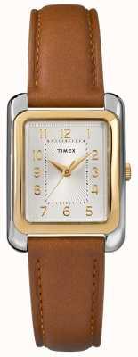 Timex Marrón plateado correa de cuero marrón mujer TW2R89600D7PF
