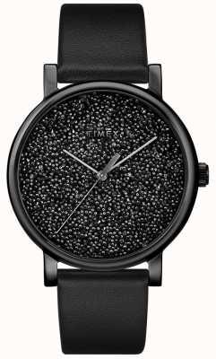 Timex Reloj de cuero negro para mujer con cristales de swarovski TW2R95100D7PF