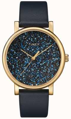 Timex Reloj de mujer de cuero azul con cristales de swarovski TW2R98100D7PF