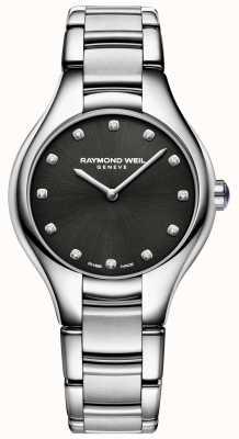 Raymond Weil Esfera engastada de diamantes negros noemia para mujer 5132-ST-20081