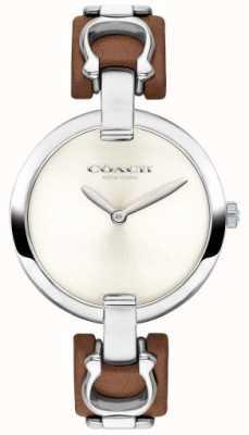 Coach Reloj de pulsera de cuero y acero marrón chrystie para mujer 14503090