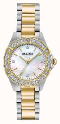 Bulova Reloj con dos tonos de diamantes para mujer 98R236