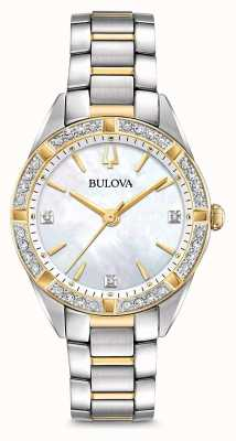 Bulova Reloj con dos tonos de diamantes para mujer 98R263