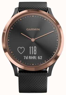 Garmin Vivomove hr activity tracker caucho negro caja de oro rosa 010-01850-06