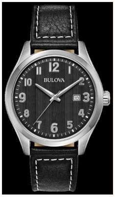 Bulova Reloj para hombre esfera negra correa de cuero negro 96B299