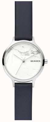 Skagen Reloj de correa de cuero para mujer de mármol blanco SKW2719