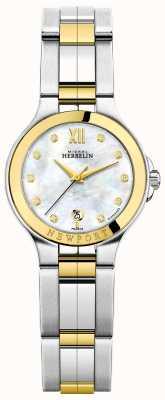 Michel Herbelin Las señoras newport royale dos tonos de nácar diamante marcar 14298/BT89