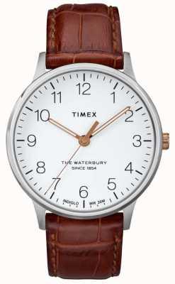 Timex La clásica esfera blanca Waterbury para hombre con agujas de oro rosa TW2R95900