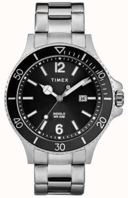 Timex Mens harborside pulsera de acero inoxidable esfera negra TW2R64600