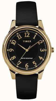 Timex Reloj negro de mujer con correa de cuero negro clásico TW2R87100