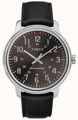 Timex Esfera negra cepillada de cuero negro clásico para hombre TW2R85500