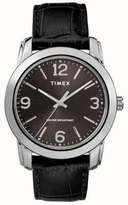 Timex Correa negra y negra para hombres con correa de cocodrilo negra TW2R86600