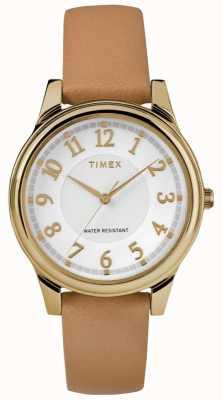 Timex Correa de cuero de color marrón clásico para mujeres esfera plateada con tono dorado TW2R87000