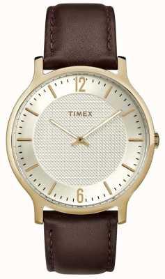 Timex Reloj metropolitano para hombre con esfera dorada de cuero marrón de 40 mm TW2R92000