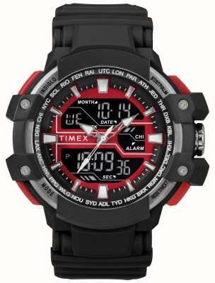 Timex Estuche para hombre de 50 mm negro con correa negra roja. TW5M22700