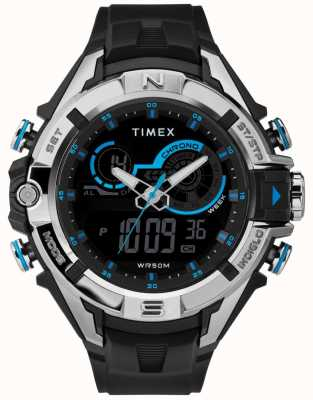 Timex Correa de cromo negra para hombre con caja negra de 47mm. TW5M23000