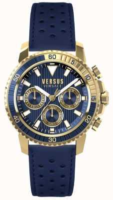 Versus Versace Correa de cuero aberdeen para hombre, esfera azul S30020017