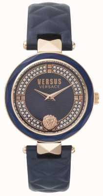 Versus Versace Covent Garden correa de cuero azul para mujer esfera de piedra azul SPCD280017