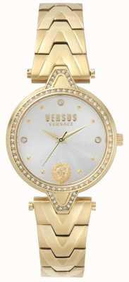 Versus Versace Pulsera de pvd de oro con esfera dorada y conjunto de piedra v versus mujer SPCI350017