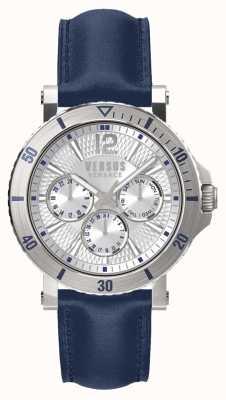 Versus Versace Cronógrafo steenberg plateado correa de cuero azul SP52010018