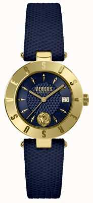 Versus Versace Correa de cuero azul para mujer con logo azul SP77220018