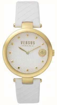 Versus Versace Correa de cuero blanco con esfera blanca de buffle bay para mujer SP87020018