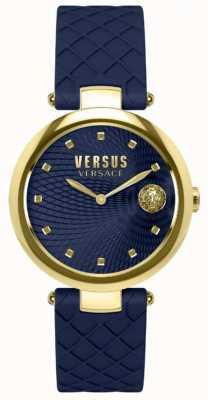 Versus Versace Correa para mujer con correa azul y correa de cuero azul SP87030018