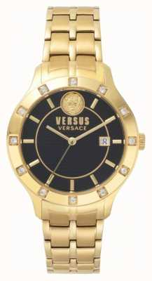 Versus Versace Brackenfell para mujer negro dial gold pvd bracelet SP46030018