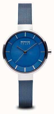 Bering Para mujer solar, esfera de rayos de sol, caja de plata, correa de malla azul 14631-307