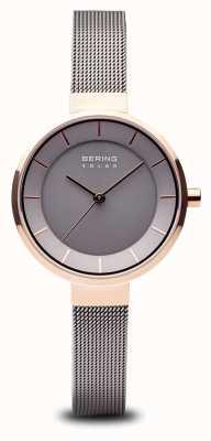 Bering Estuche para mujer de oro rosa, correa de malla de acero inoxidable 14631-369