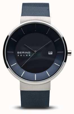 Bering Reloj solar para hombre, correa de malla azul de acero inoxidable cara azul 14639-307