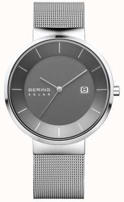 Bering Reloj solar para hombre, caja de plata, correa de malla de acero inoxidable. 14639-309