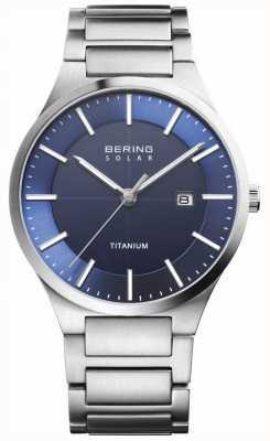 Bering Correa de titanio azul solar para hombre cara azul plata 15239-777