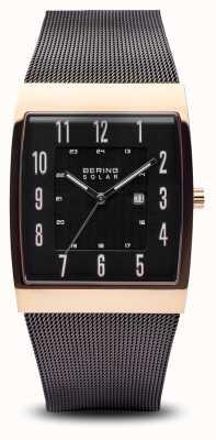Bering Correa de malla negra de oro rosa de mens para hombre, negra 16433-166