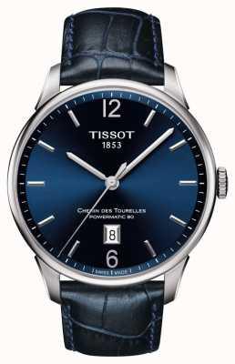 Tissot Correa de cuero azul para hombre chemin des tourelles esfera azul T0994071604700