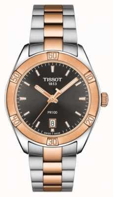 Tissot Womens pr 100 sport chic 36 mm en dos tonos con esfera negra T1019102206100