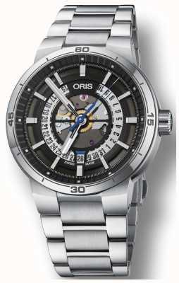 Oris Williams tt1 motor fecha acero inoxidable pulsera esqueleto 01 733 7752 4124-07 8 24 08
