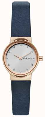 Skagen Reloj de mujer freja, correa de piel azul, cara plateada SKW2744