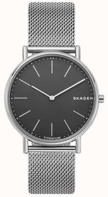 Skagen Mens signatur pulsera de malla de acero inoxidable esfera negra SKW6483