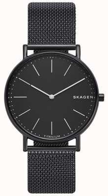 Skagen Pulsera de malla de acero inoxidable para hombre negro negro. SKW6484